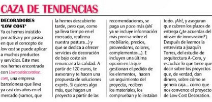 Articulo sobre low cost decoration en EMPRENDEDORES